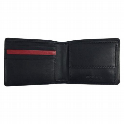 Wallet With Coin Pocket - Black With Red Stripe